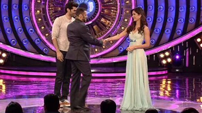 Image result for salman khan and katrina kaif on bigg boss set