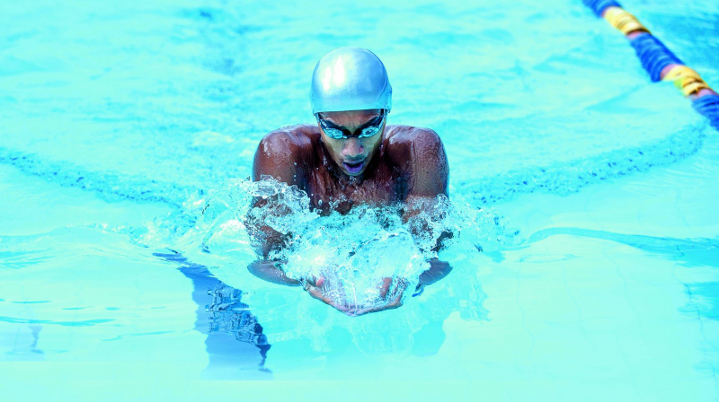 Likith S.P. in the pool