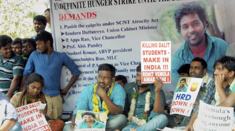 Students have intensified their stir at the Hyderabad University campus over the death of Rohith Vemula.