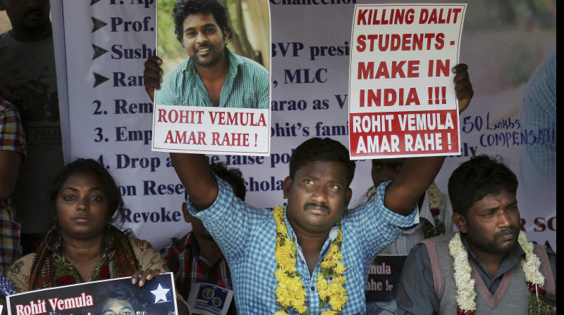 Students of Hyderabad University instensified their stir against V-C after he went on indefinite leave (Photo: PTI)