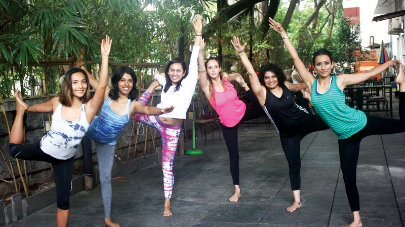 A file picture of ladies practising yoga.
