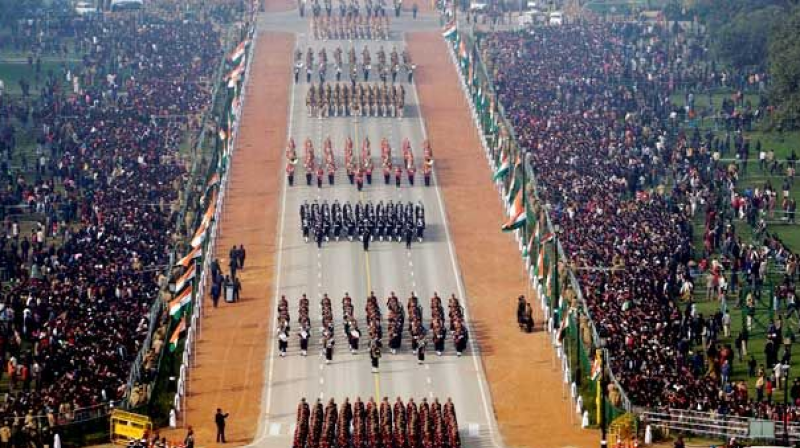Soldiers are seen marching through Rajpath, the ceremonial boulevard during the Republic Day parade in New Delhi.
