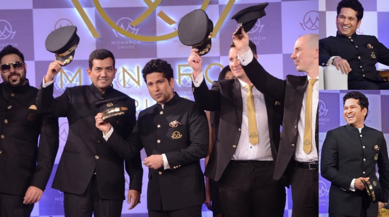 Former India cricketer Sachin Tendulkar with rapper Badshah, masterchef Sanjeev Kapoor and Monarch Cruise officials at the launch of the venture in Mumbai on Wednesday. (Photo: Rajesh Jadhav/ Deccan Chronicle / PTI)
