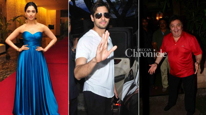 The team of 'Mirzya' held a screening while Tamannaah Bhatia, Sidharth Malhotra, Rishi Kapoor and several other celebrities were spotted as they stepped out.(Photo: Viral Bhayani)