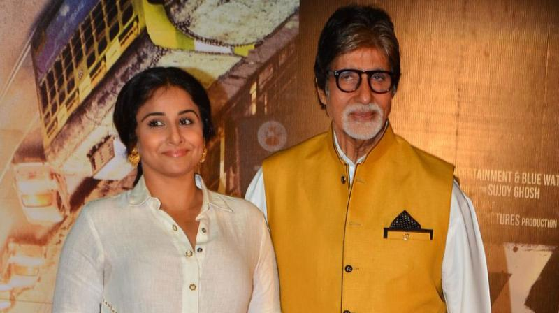 Amitabh Bachchan and Vidya Balan came together to launch the first trailer of their upcoming crime thriller 'TE3N'. Photo: Viral Bhayani