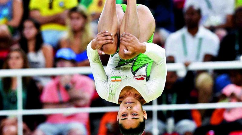 In this file photo, Dipa Karmakar takes part in the artisitic gymnastics. (Photo: AP)