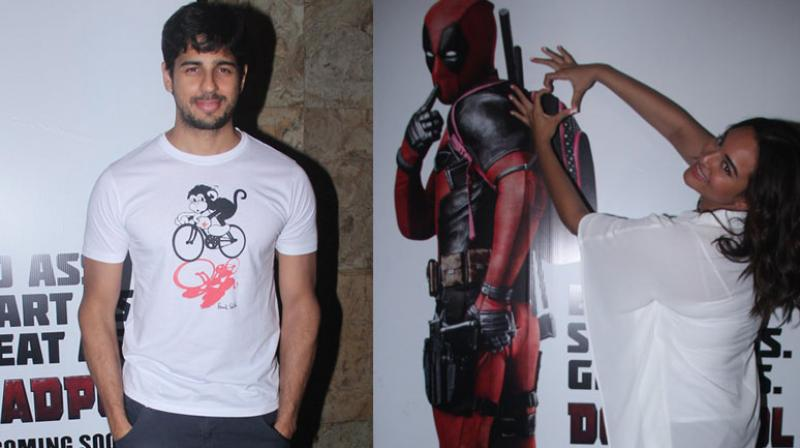 Sidharth Malhotra and Sonakshi Sinha spent their Tuesday evening, catching a screening of Hollywood superhero flick Deadpool in Mumbai. Photo: Viral Bhayani