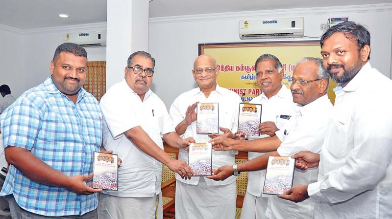CPI (M) state secretary G. Ramakrishnan released his party election campaign music CD at party headquarters in T. Nagar on Sunday. Also seen are party  central committee members K. Varadharajan, T. K. Rangarajan and A.S. Soundararajan. (Photo: DC)