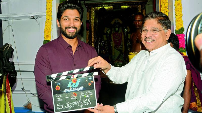 Allu Arjun with father Aravind at the launch of DJ.