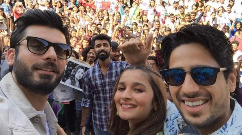 Alia, Sidharth and Fawad promote their upcoming film in Ahmedabad.