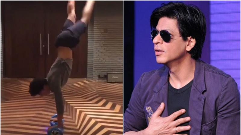 Like father, like son. SRK loves roaming around on hoverboard and so does his son, Aryan.