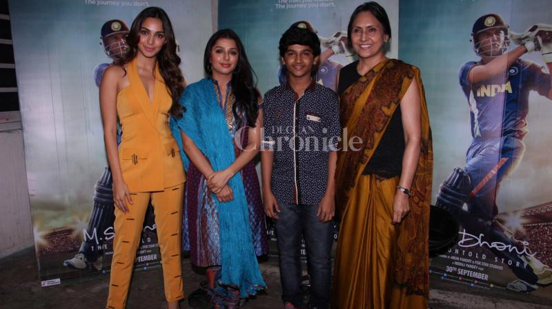 On Thursday, the star cast of 'M.S. Dhoni: The Untold Story' sans Sushant Singh Rajput stepped out to promote their film in Mumbai. (Photo: Viral Bhayani)