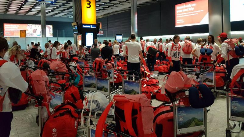 Athletes tweeted images as they searched for their bags (Photo: Twitter)