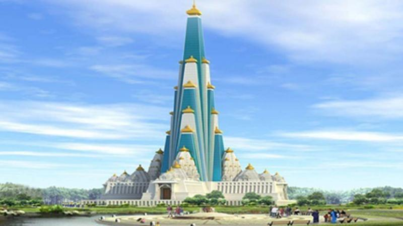 These are the first signs of what will be, when its completed by 2022,  the world's tallest temple to Krishna.