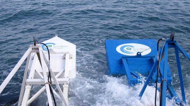 The Gibraltar array is the first grid-connected, multi-unit wave power plant in Europe, to operate under the terms of a commercial power purchase agreement. (Photo: Eco Wave Power)