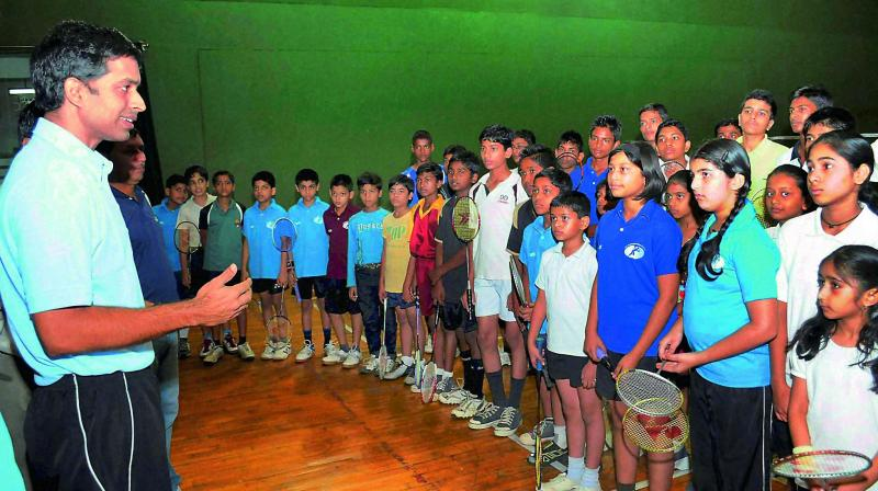 Students being trained at the Pullela Gopichand Badminton Academy.