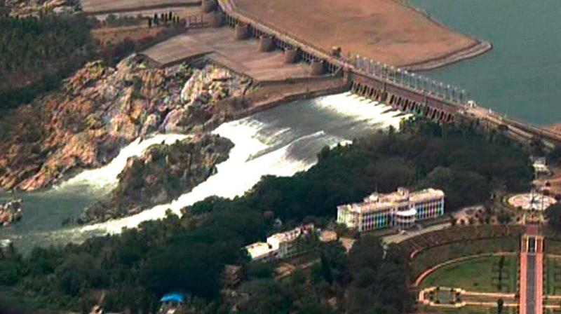 An aerial view of the KRS dam during former PM H.D. Deve Gowda's inspection of the Cauvery basin on Sunday. (Photo: KPN)