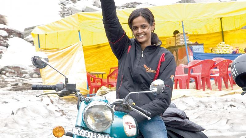 Shubra Acharya after completing a successful ride