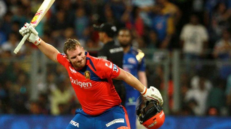 Australia cricketer Aaron Finch – who struck gold for Gujarat Lions this IPL with three half-centuries – suffered cramps during the match against Mumbai Indians here on Saturday. (Photo: BCCI)