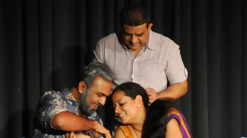 Acting out: From left, Shirish Ghosal, Vinay Varma and Poonam Golecha on stage during their performance of Raktbeej