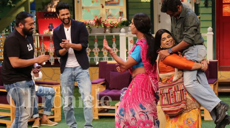 Anurag Kashyap, Nawazuddin Siddiqui and Vicky Kaushal may have been promoting their crime thriller on the sets of The Kapil Sharma Show, but that didn't stop them form letting loose. Photo: Viral Bhayani