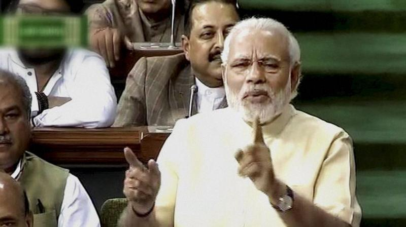 Prime Minister Narendra Modi speaks in the Lok Sabha in New Delhi. (Photo: PTI)
