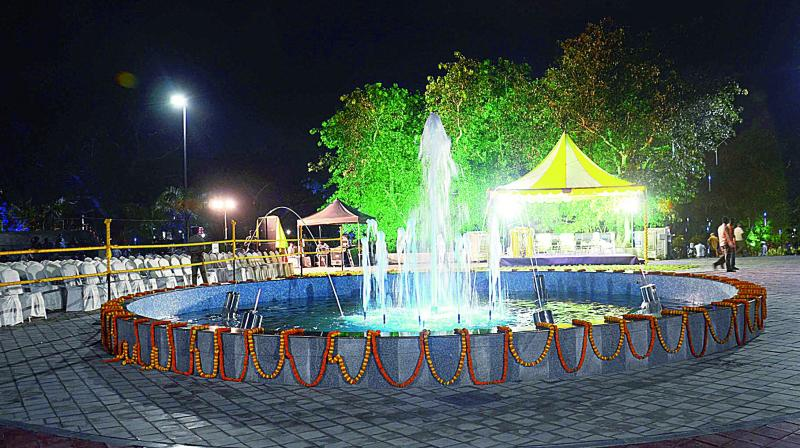 Vuda City Central Park decked up with lights for inauguration by Chief Minister N. Chandrababu Naidu in Visakhapatnam on Wednesday. (Photo: DC)