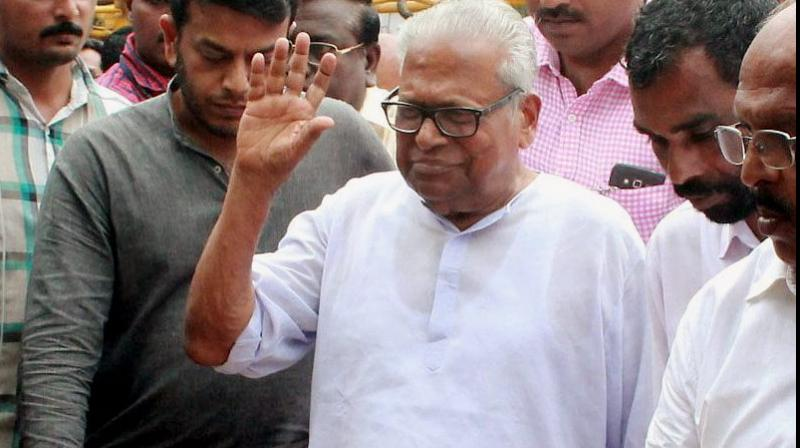 Kerala Leader of the Opposition V.S. Achuthanandan after casting vote at a polling booth during the Assembly elections at Ambalappuzha in Alappuzha, Kerala. (Photo: PTI)