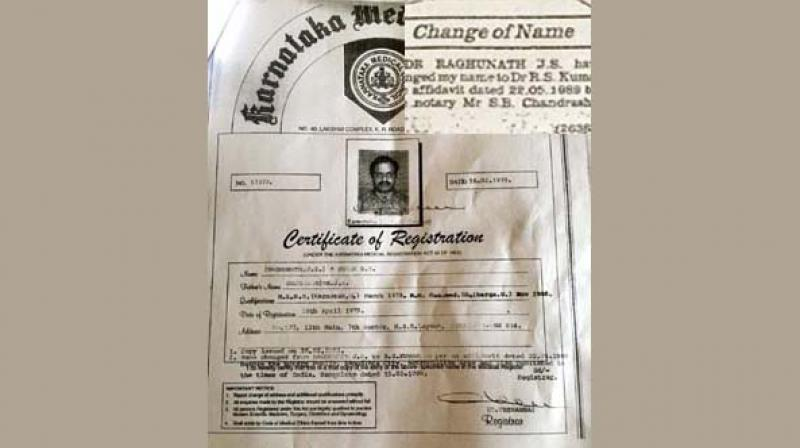 left kumars fake registration document and a classified ad for a change in his