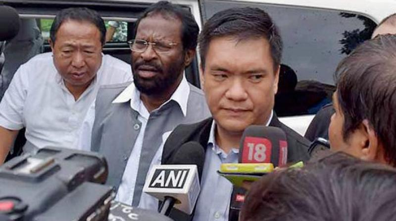 Later addressing the members, Khandu appreciated them for reposing faith in his leadership and also thanked senior party leaders, including Tuki and Kalikho Pul. (Photo: PTI)