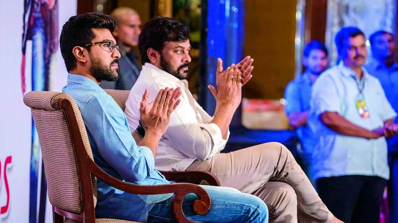 Chiranjeevi and Ram Charan at the event