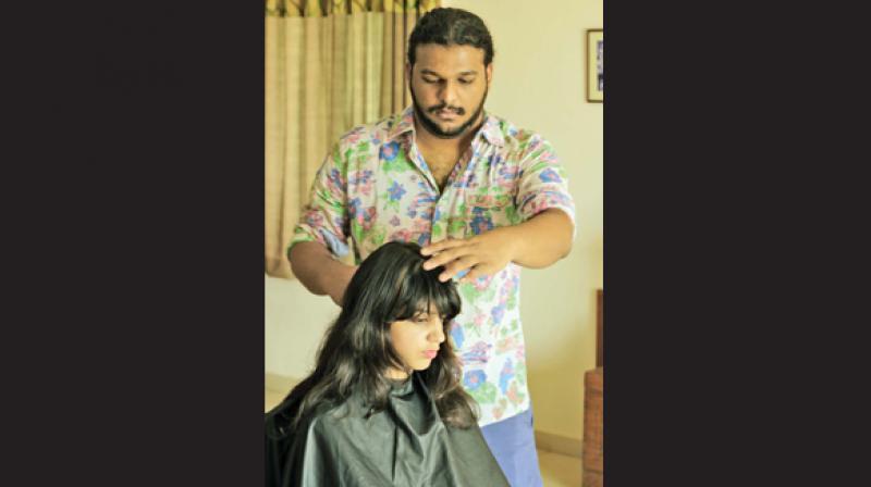 Sushanth giving a haircut