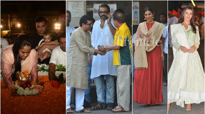 On Tuesday, many Bollywood celebrities and politicians paid Salman Khan's house in Mumbai a visit to seek blessings from Ganesha before visarjan. (Photo: Viral Bhayani)