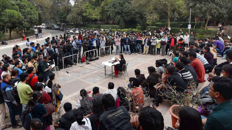 JNUSU Vice President Shehla Rashid addresses a press conference on the JNU campus in New Delhi. (Photo: PTI)