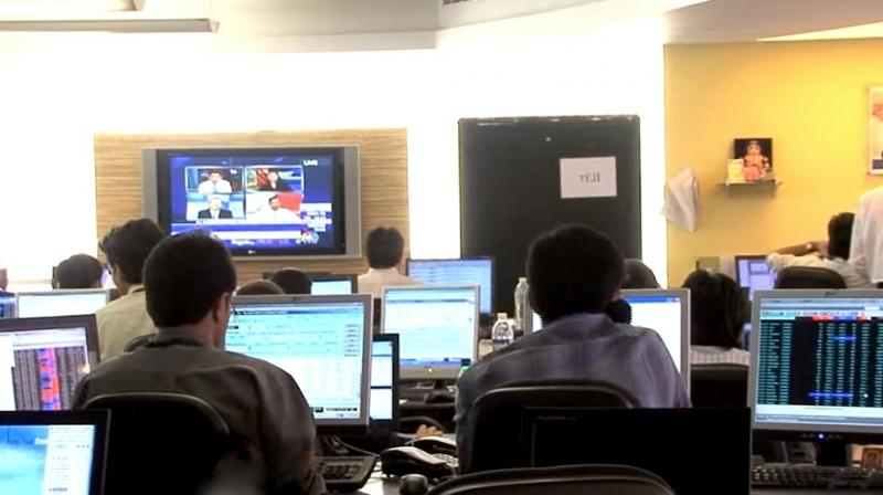 Brokers during a trading session at BSE.