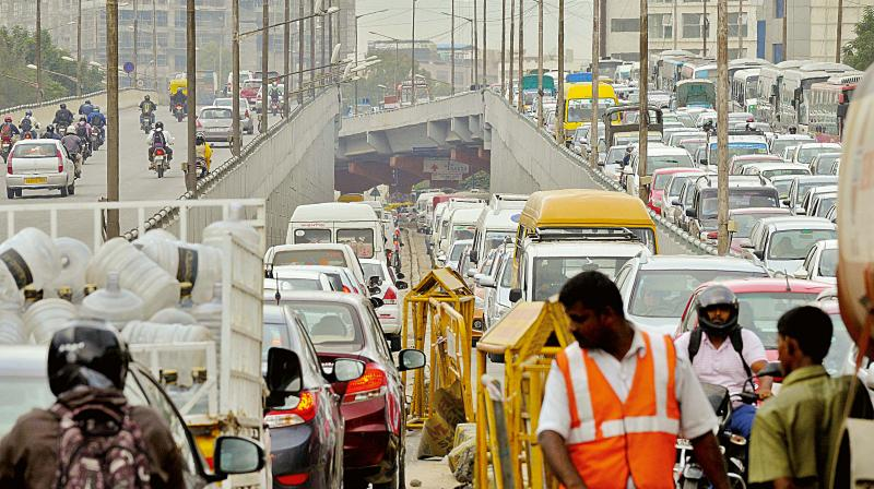 Traffic jam on Ring Road near Sarjapur, in Bengaluru on Wednesday (Photo — Shashidhar B)