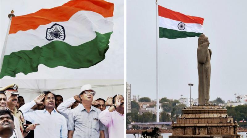 Telangana Chief Minister K Chandrasekhar Rao unfurled the second tallest National Flag at Hyderabad's Sanjeevaiah Park on Thursday. (Photo: PTI)