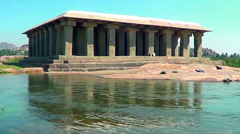 The 60-pillar mantap at Tungabahdra river in Anegundi is believed to be Sri Krishnadevaraya's tomb
