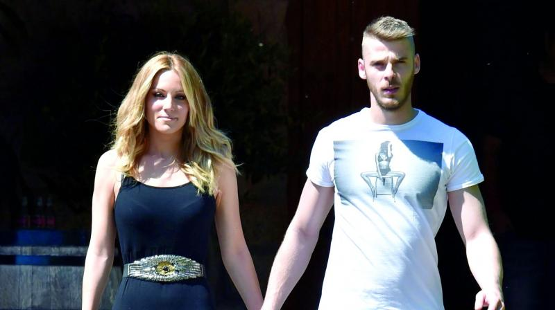 David de Gea went for a spot of lunch with his girlfriend Edurne Garcia in Altrincham