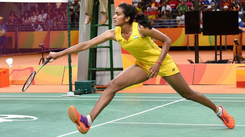 P.V. Sindhu while playing her final match against Carolina Marin to clinch gold in Rio olympics.