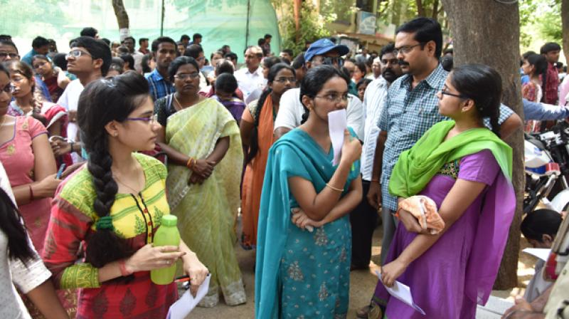 Students of CMR College of Pharmacy in Medchal approached the Telangana State Council for Higher Education Chairman and complained against their college principal for alleged harassment.(Representational image)