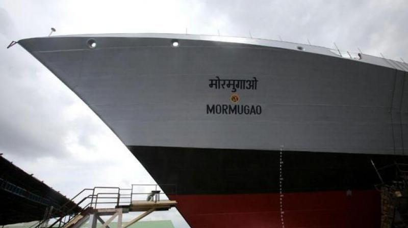 The second ship of the Project 15B, a guided missile destroyer christened 'Mormugao' for Indian Navy, will be launched in Mumbai on September 17. (Photo: Twitter)