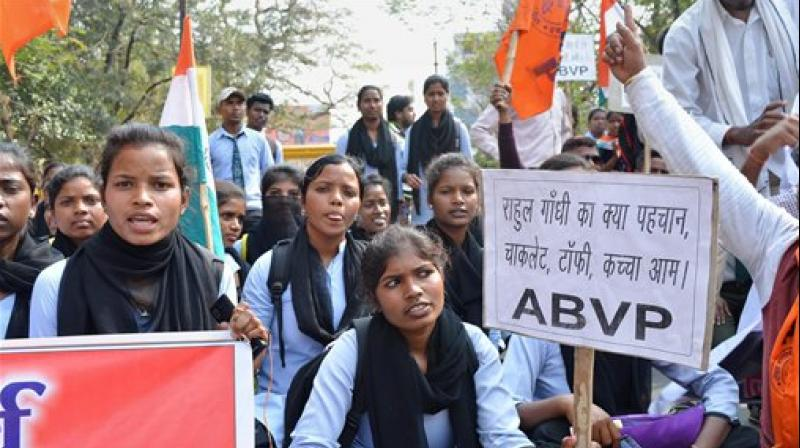 Members of ABVP staging a protest against recent incident of alleged anti-national activist at JNU. (Photo: AP)