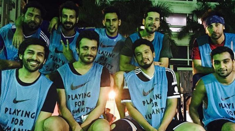 Ranbir Kapoor, Dino Morea and their celebrity team hit the ground running for a charity football match held over the weekend. Photo: Twitter