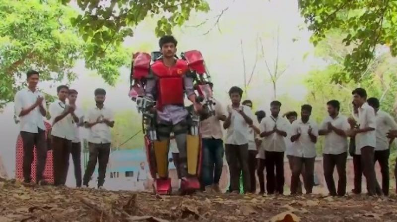 Vimal Govin Manikandan was able to build the battery-powered and functional exoskeleton by spending just Rs. 51,000. (Credit: Twitter/ @‏ajplus)