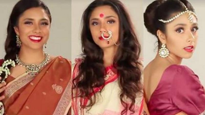 This video perfectly shows what eight different sari styles would look like on one woman. (Credit: Facebook)