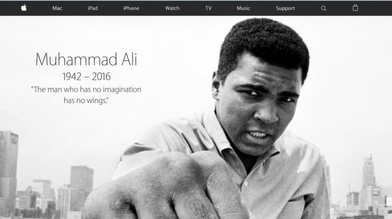 The tribute on the website reads out one of Ali's famous quotes, 'The man who has no imagination has no wings.'