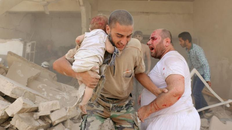 At least 11 children were killed in a Barrel bomb attack in Syria's Aleppo city. (Photo: AFP)