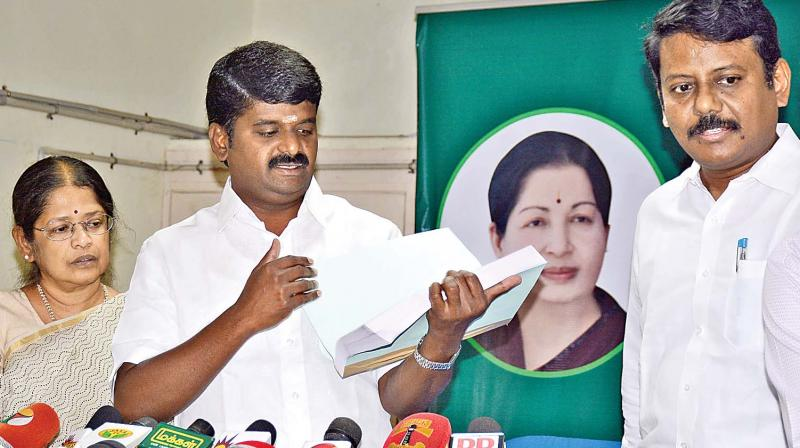 Minister of Health and Family Welfare C. Vijaya Baskar releases the MBBS rank list at the office of directorate of medical education on Friday. DME Dr R. Vimala looks on. (Photo: DC)