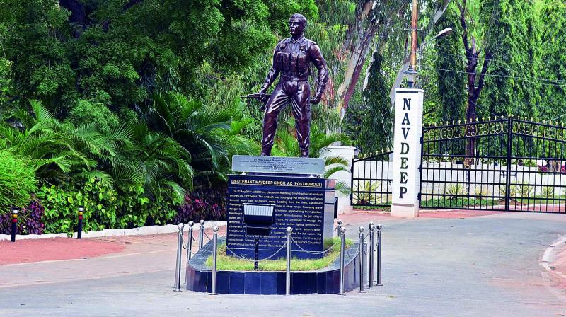 The statue of Lt. Navdeep at the AOC centre. Navdeep was awarded the Ashok Chakra, India's highest peacetime military award, posthumously